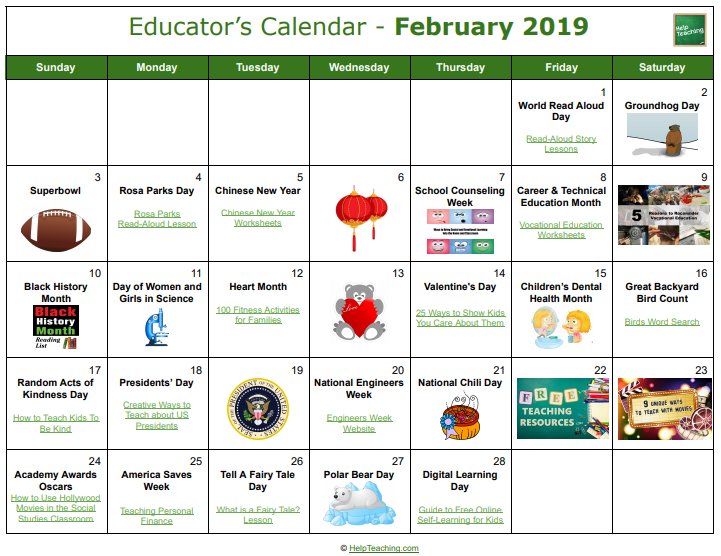 Teachers Calendar February 2019 FREE February 2019 Educator's Calendar   Find fun, free teaching