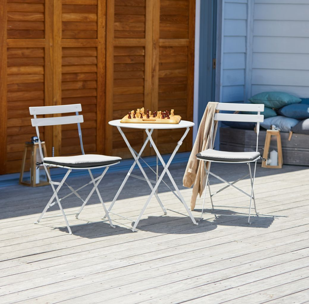 Kafésett HAFJELL Ø60 + 2 stoler grå | JYSK 599kr