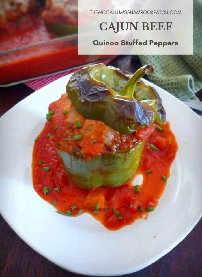 Cajun Beef Quinoa Stuffed Peppers The Mccallum S Shamrock Patch Recipe Stuffed Peppers Quinoa Stuffed Peppers Beef Recipes