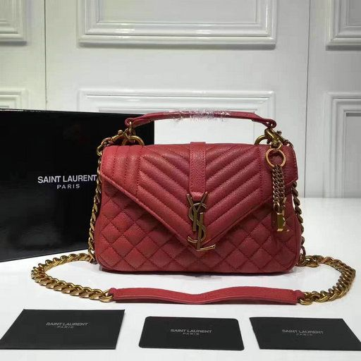👑👑👑 GLAMBARBIE 👑 👑👑 Ysl Saint Laurent slp college chain flap bag  black large size  865b17e40b5a6