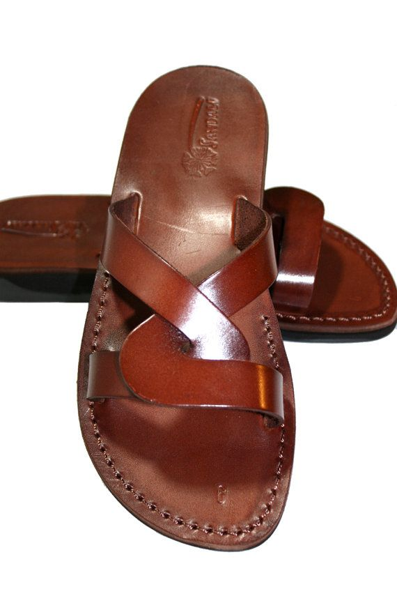 515917662 Brown Tumble Leather Sandals For Men   Women Handmade Unisex Sandals ...