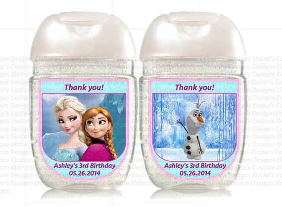 Frozen Elsa Anna Printable Personalized Hand Sanitizer Favors