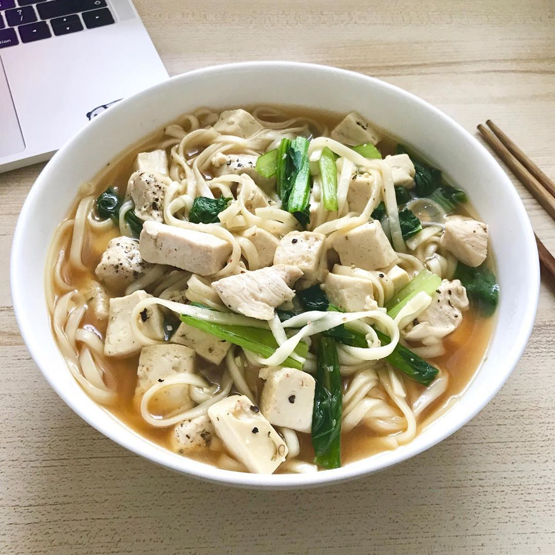 Chicken stock noodles.