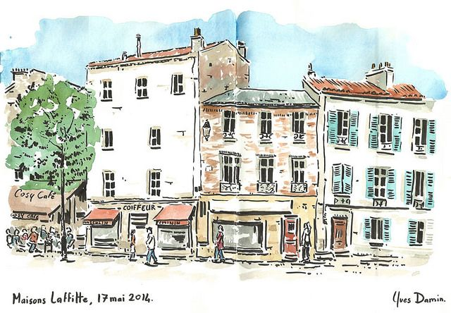 Maisons Laffitte Urban Landscape Watercolor Mixing Funny Art