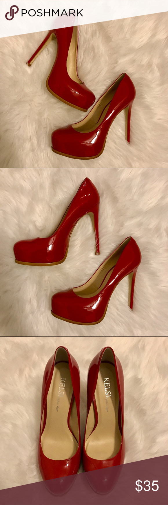55eaf51be751 Kelsi Dagger Red Round Toe Patent Pumps Red Round Toe Patent Pumps - very  minimal wear - only noticeable on the bottoms of the shoes.