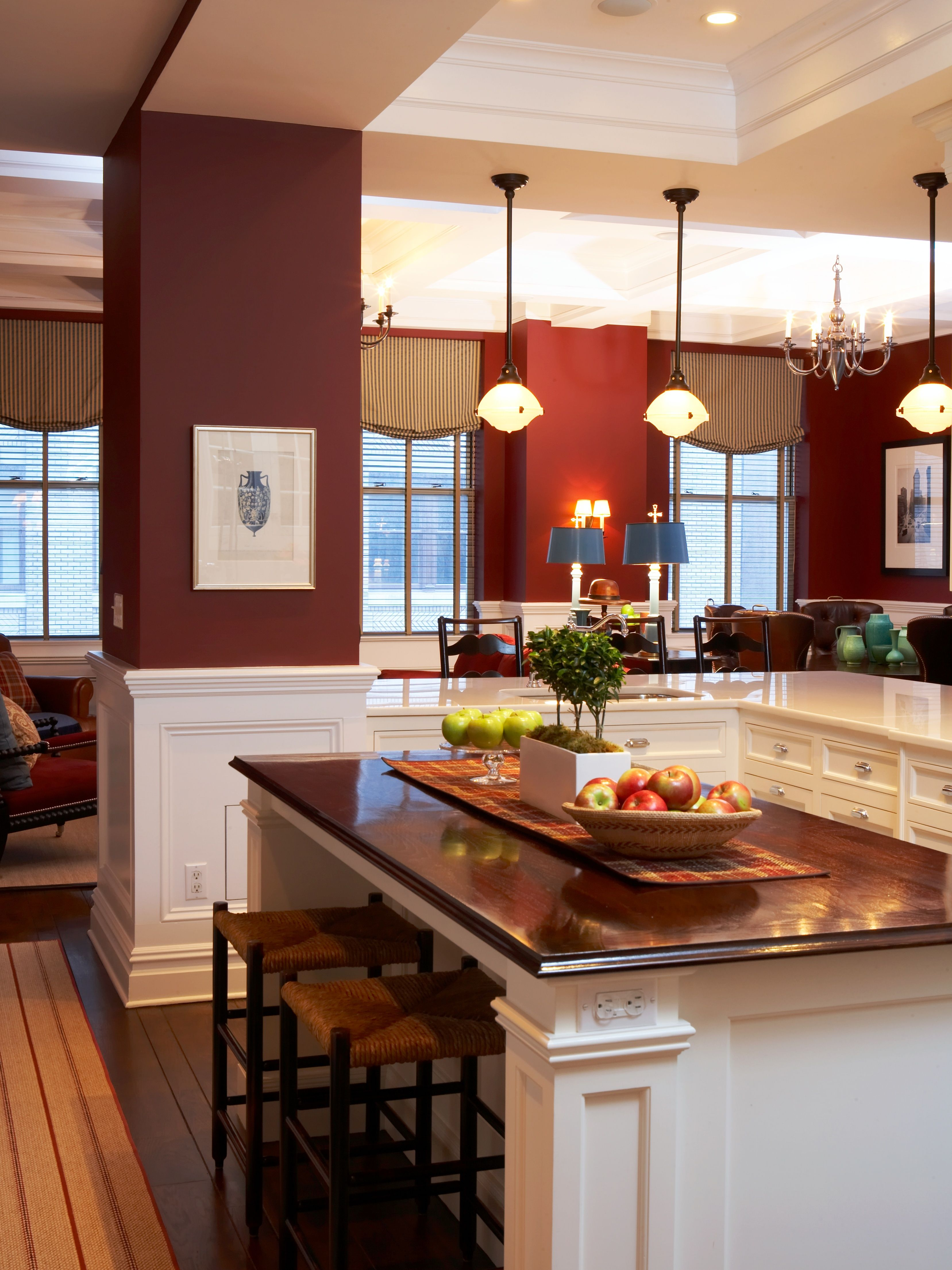 Transitional Kitchen With Dark Red Walls White Painted Wood Work Dark Counter Tops Scott Kitchen Countertops Diy Countertops Replacing Kitchen Countertops