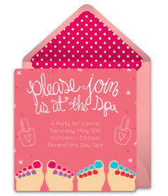 Online Invitations From  Spa Party Shower Invitations And Birthdays