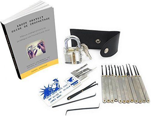 Kit de crochetage / Kit pour serruriers de haute qualité 20 pcs, Cadenas transparent, Étui de transport en cuir, Carte de crédit contenant…