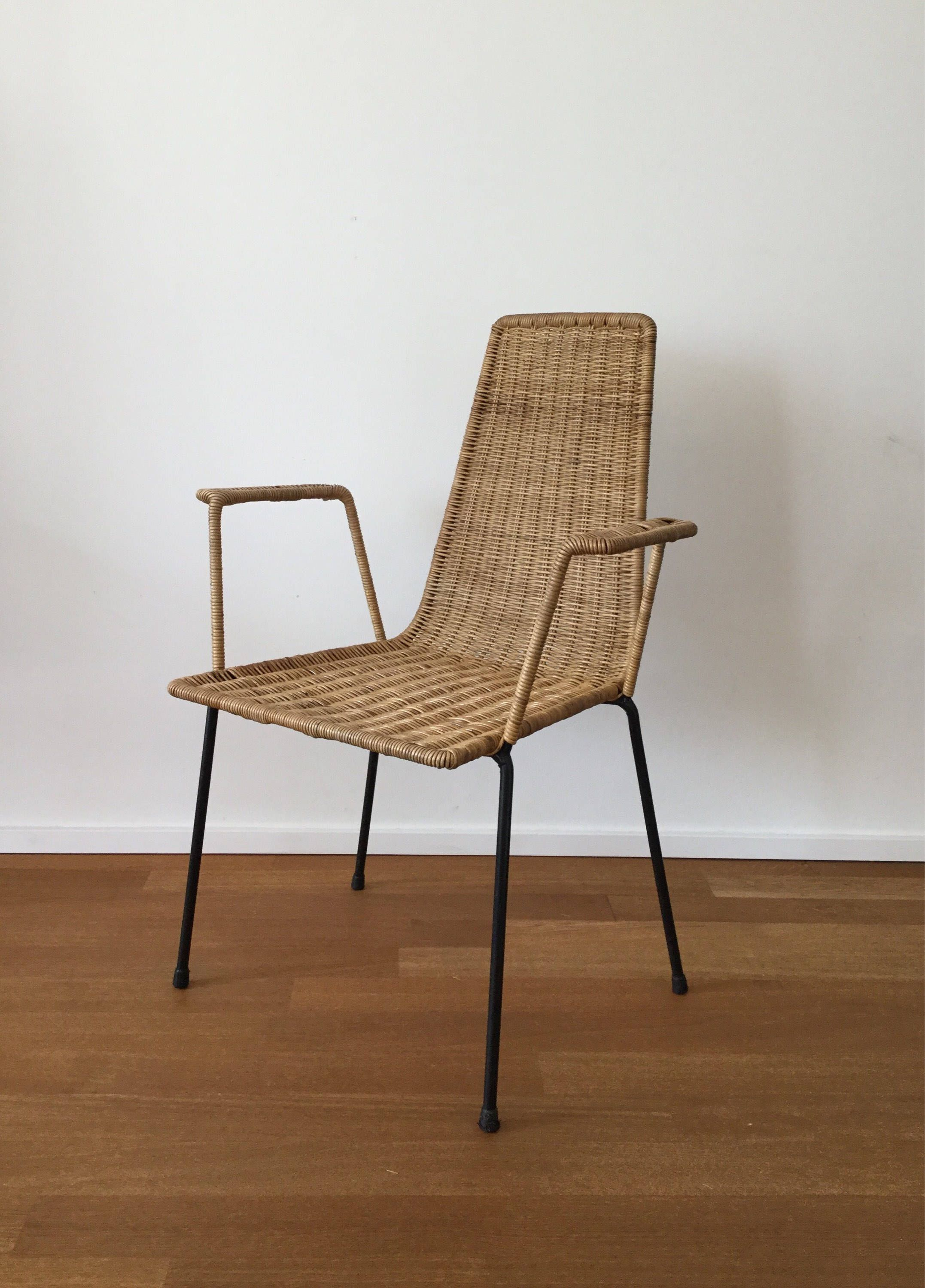 Mid century 60s 50s Wicker Chair basket chair in the style of Gian Franco Legler Franco Campo Carlo Graffi