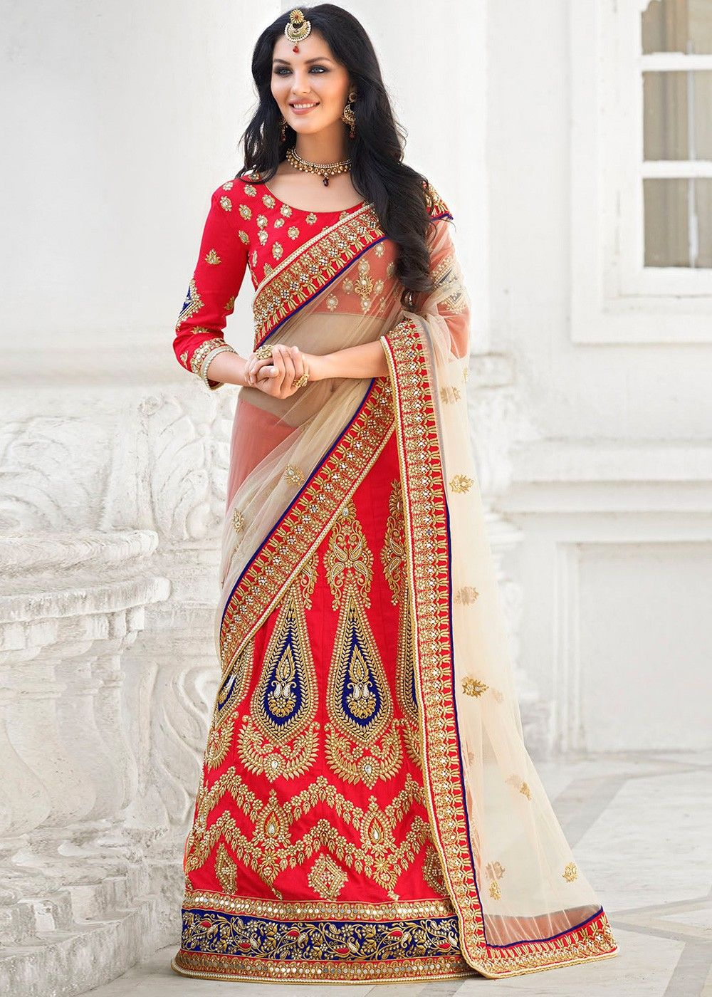 bac17fecc0 Cream and #red #net and art #silk #lehengastyle #saree beautified with  mirror effect, beads, stone, zari, #resham embroidery and patch border work.