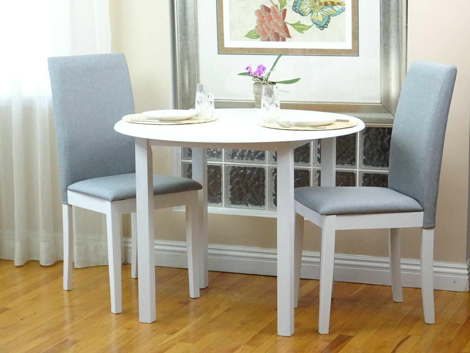 Dining Kitchen 3 Pcs Set Round Table 2 Fallabella Chairs White Finish Dining Table Ideas Of Dinning Tables And Chairs Dining Table Sofas For Small Spaces