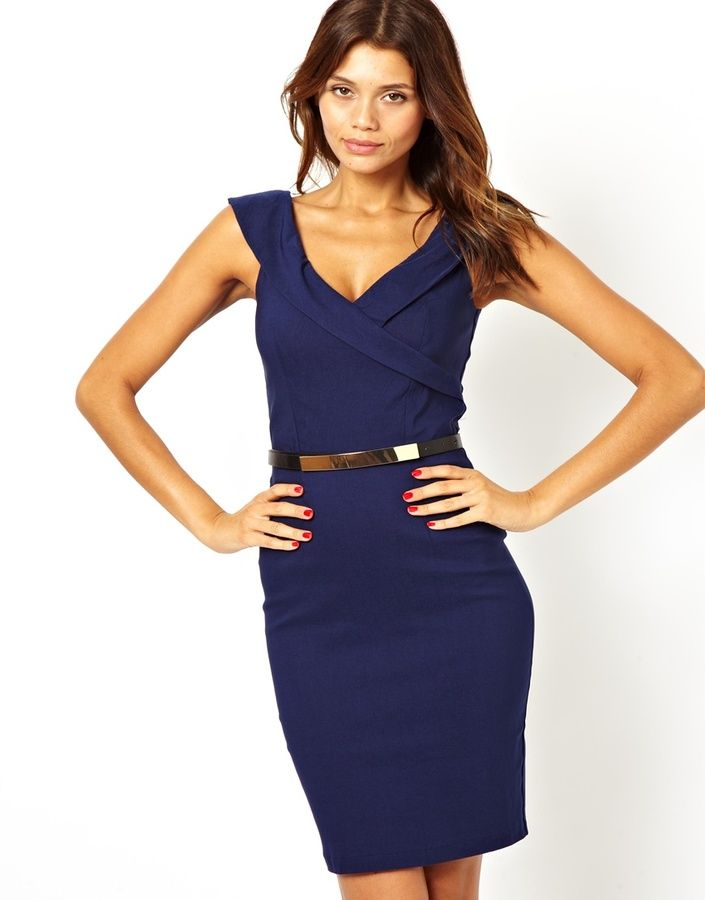 dae432bae9 Paper Dolls Belted Pencil Dress with Open Neck - Graduation Dress