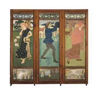 THREE-FOLD MAHOGANY SCREEN, circa 1891, Circle of Phoebe Anna Traquair (1852-1936), incorporating canvases depicting nursery rhymes: Little Red Riding Hood; Bo Peep; and The Pied Piper