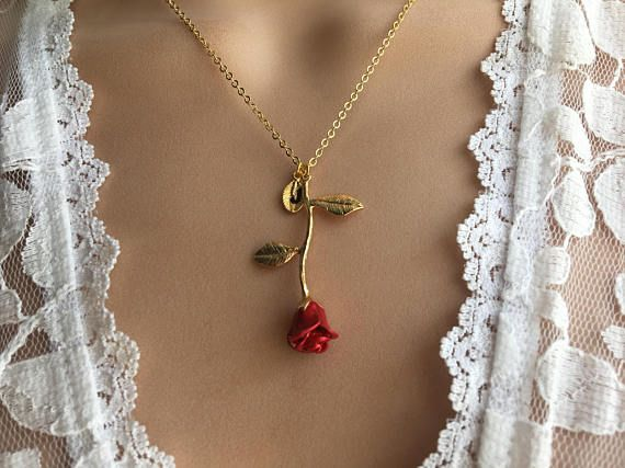 Beauty and the Beast Red Rose Flower Pendant Silver Gold Necklace Jewellery Gift