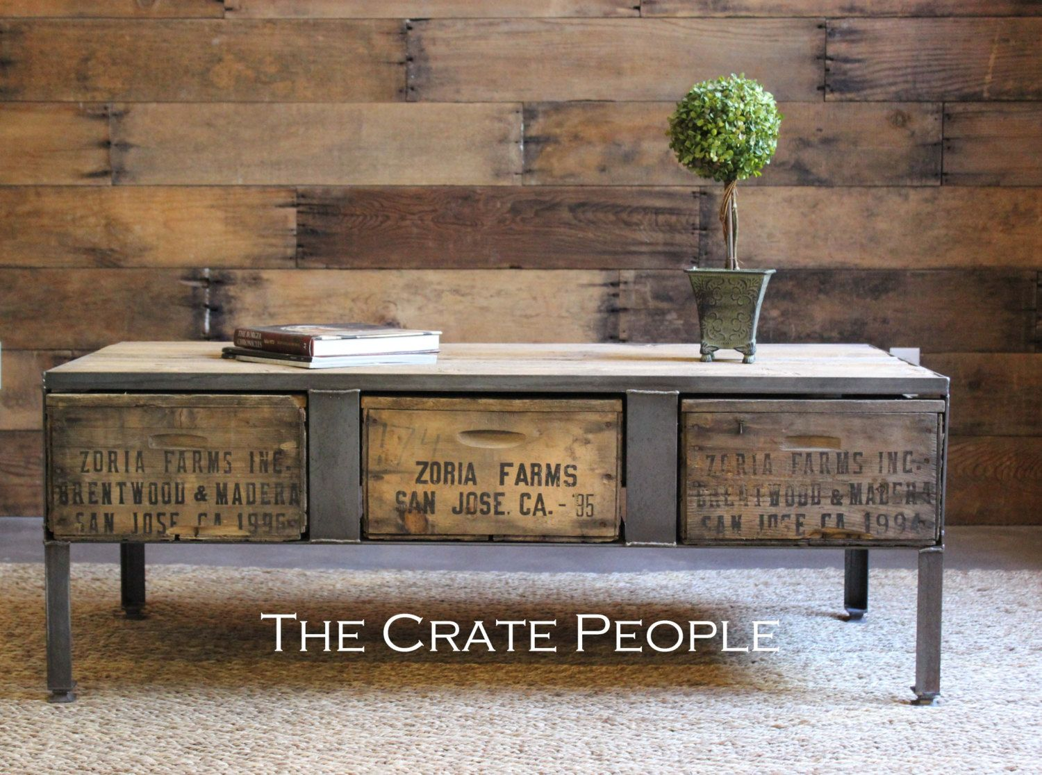 3 drawer zoria crate coffee table | vintage wood crates & 100+ yr