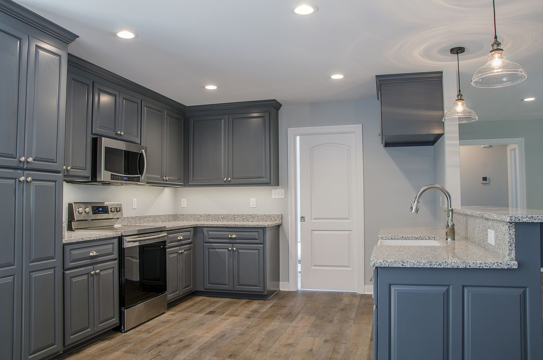 love this farmhouse inspired kitchen with bluecabinets granite countertops and a farmhouse on farmhouse kitchen granite countertops id=82768