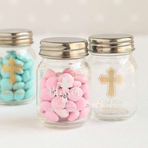 Personalized Printed Party Mini Mason Jars Communion Party