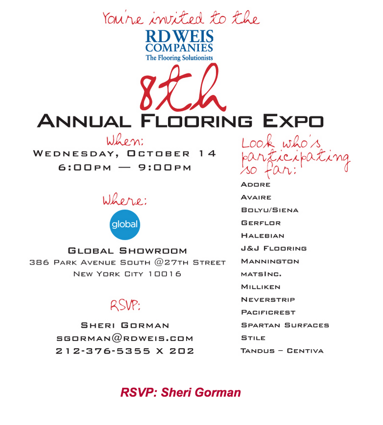 Join Rd Weis Companies For Our 8th Annual Flooring Expo On Oct 14th Expo Invitations Rsvp