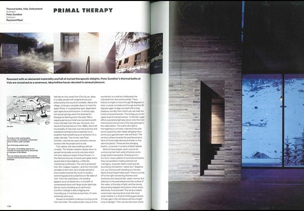 Good U0027Primal Therapyu0027 Thermal Baths By Peter Zumthor (Vals, Switzerland) |  Archive