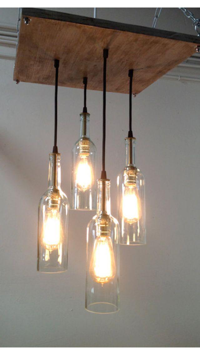 chandelier all things wine pinterest lampen flaschen und beleuchtung. Black Bedroom Furniture Sets. Home Design Ideas