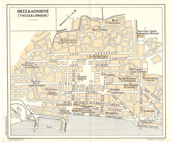 Thessaloniki Vintage City Map Greece 1953 By Carambasvintage