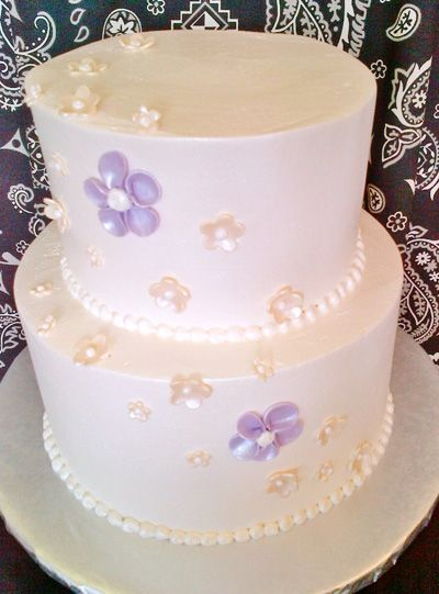Ivory Cream And Purple Wedding Cake With A Few Small Sugar Flowers Purple Wedding Cake Wedding Cakes Sugar Flowers