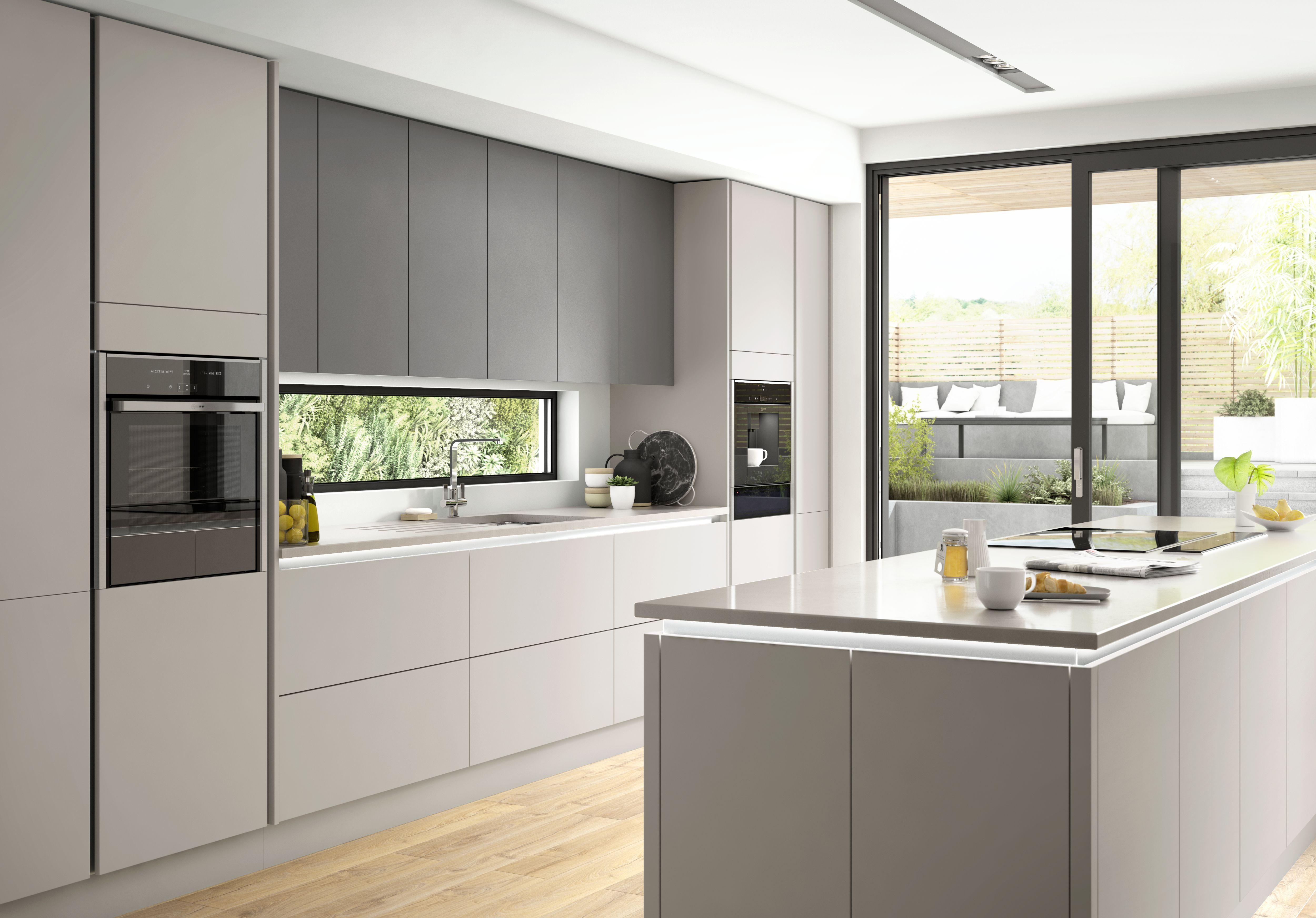 Light grey kitchen with wood floor