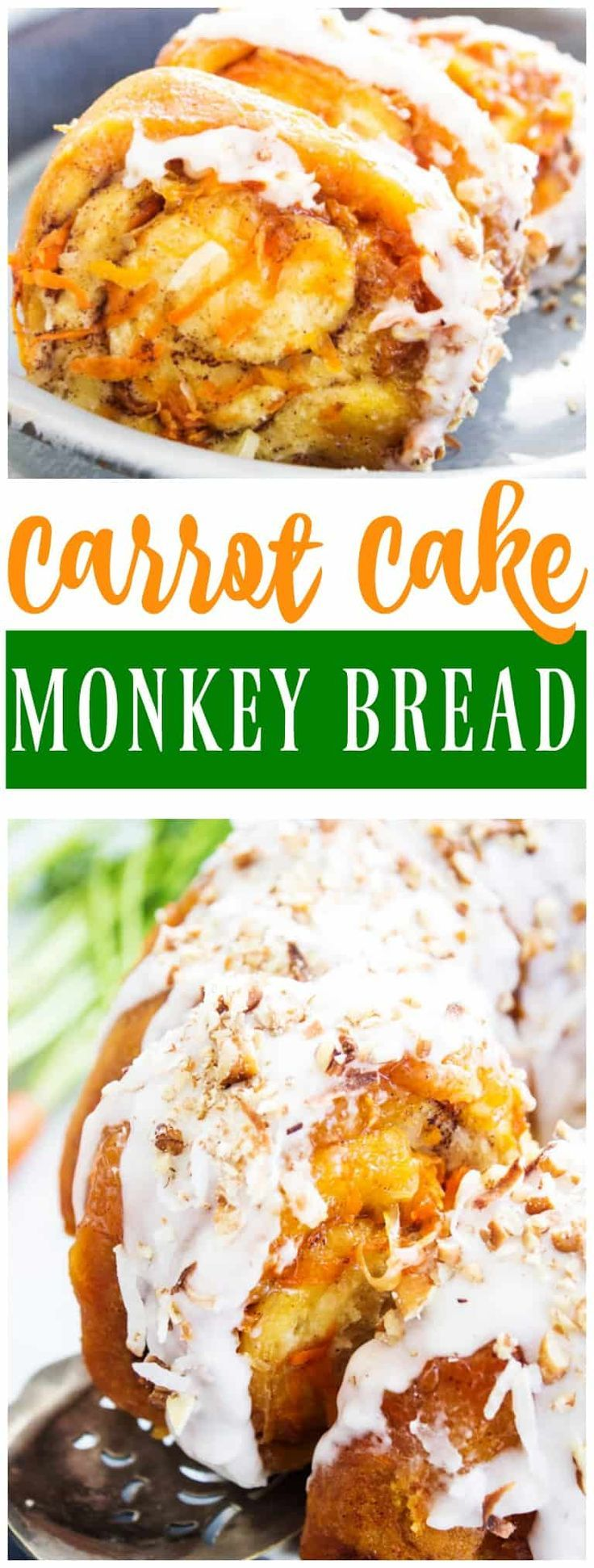 Insanely delicious this CARROT CAKE MONKEY BREAD is so easy and loaded with shredded carrots, coconut, pecans and drizzled with cream cheese frosting. #carrotcake #monkeybread  #PillsburySpringBaking #ad @walmart