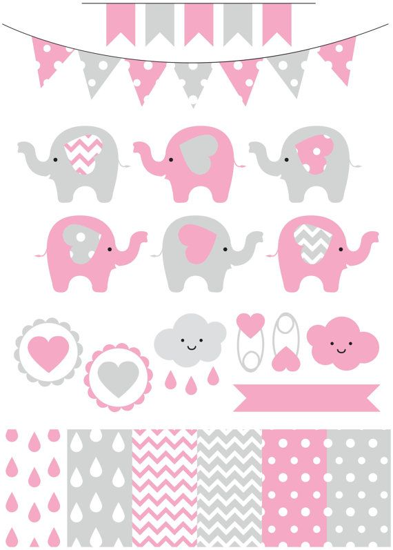 Premium baby shower vector clipart - Baby elephants - pink ...