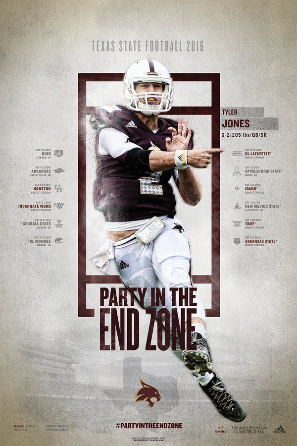 2016 Texas State Football Poster Sports Graphic Design Sport Poster Design Graphic Design Images