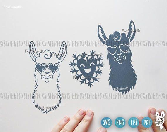 Llama SVG Papercut Template Animal Svg Cut File Heart