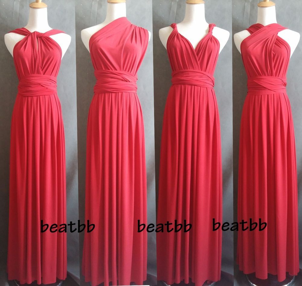 Wedding Infinity Dress Styles details about dark red flirty multi way wrap convertible infinity bridesmaid dress xs xl handmade
