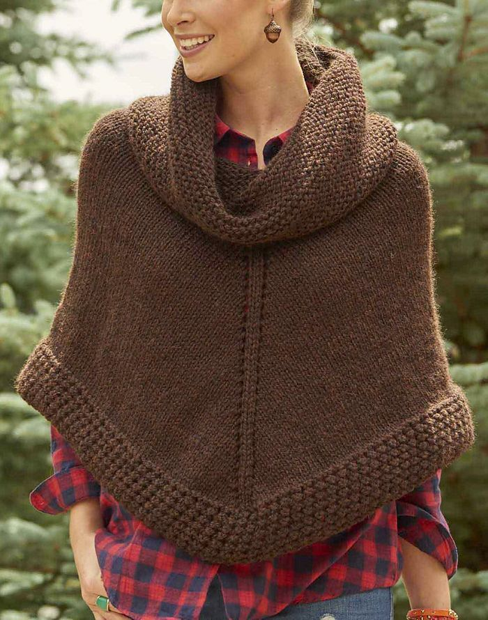 Free Knitting Pattern For Easy Getaway Poncho Knit In The Round