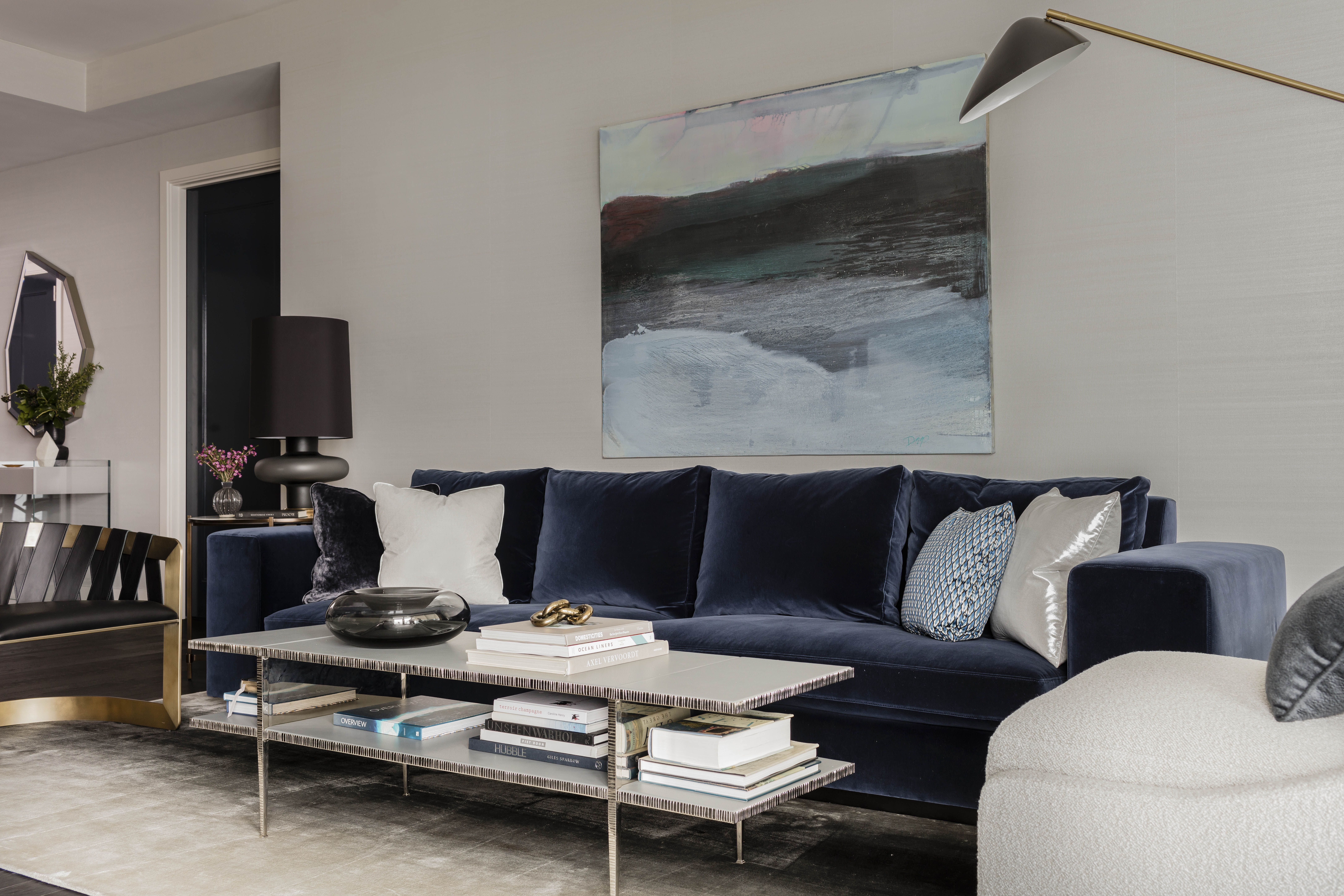 50 Liberty 1 Elms Interior Design Living Area With Lush Navy Blue Sofa Silk Ombre Area Rug And Black Le Boston Interior Design Living Room Images Interior