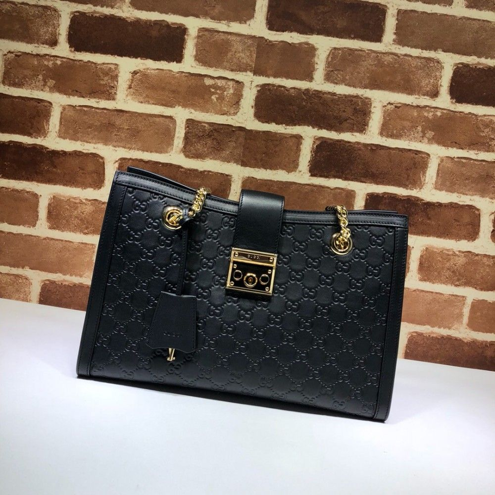 e06a5cb3f641 Gucci Padlock medium GG shoulder bag 479197 Black | Luxury Handbags ...