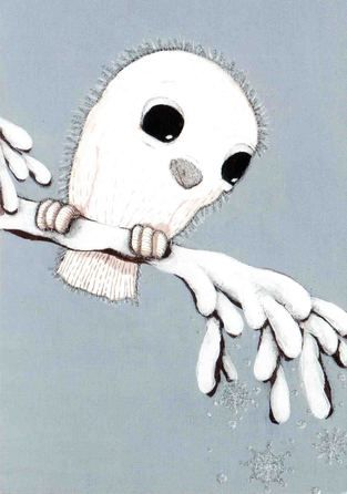 Valkea pöllö lumisella okaslla by Sari Airola
