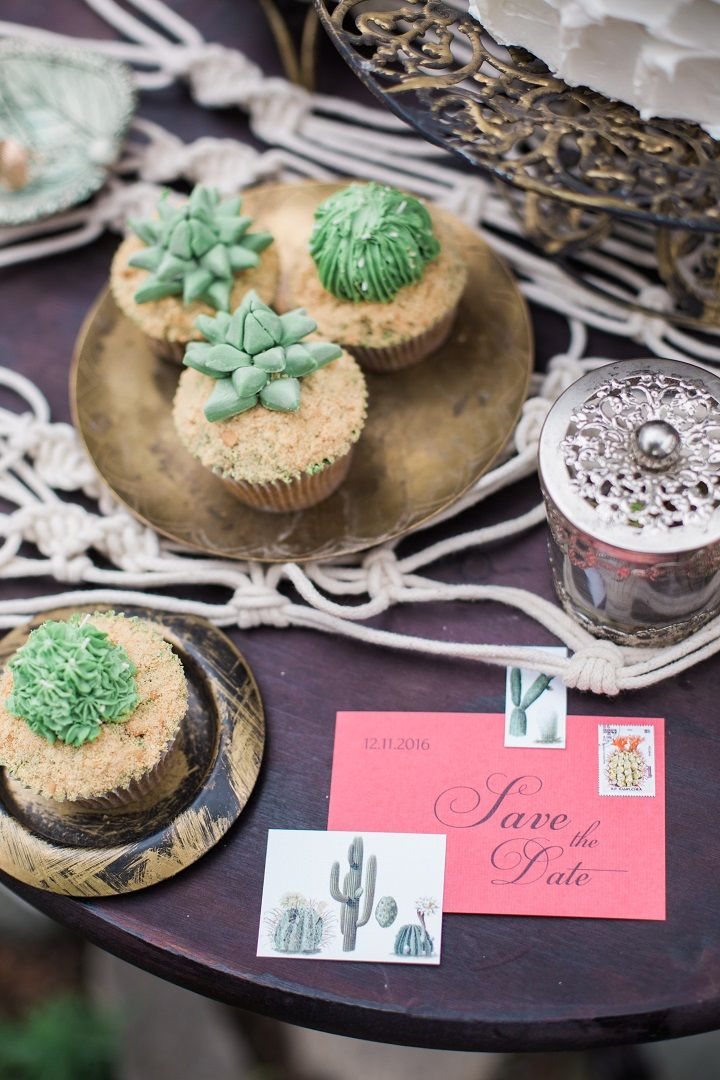 Pink save the date + wedding cupcakes - Cactus Wedding Inspiration Shoot in Botanical Garden | fabmood.com #wedding #weddingstyled #weddinginspiration #weddingideas