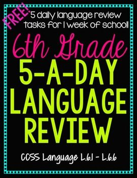 6th Grade Daily Language Spiral Review - 1 Week FREE | Back