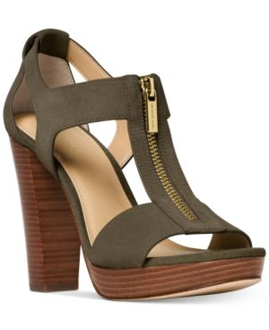 e4894590f Michael Michael Kors Berkley T-Strap Platform Dress Sandals - Green 7.5M