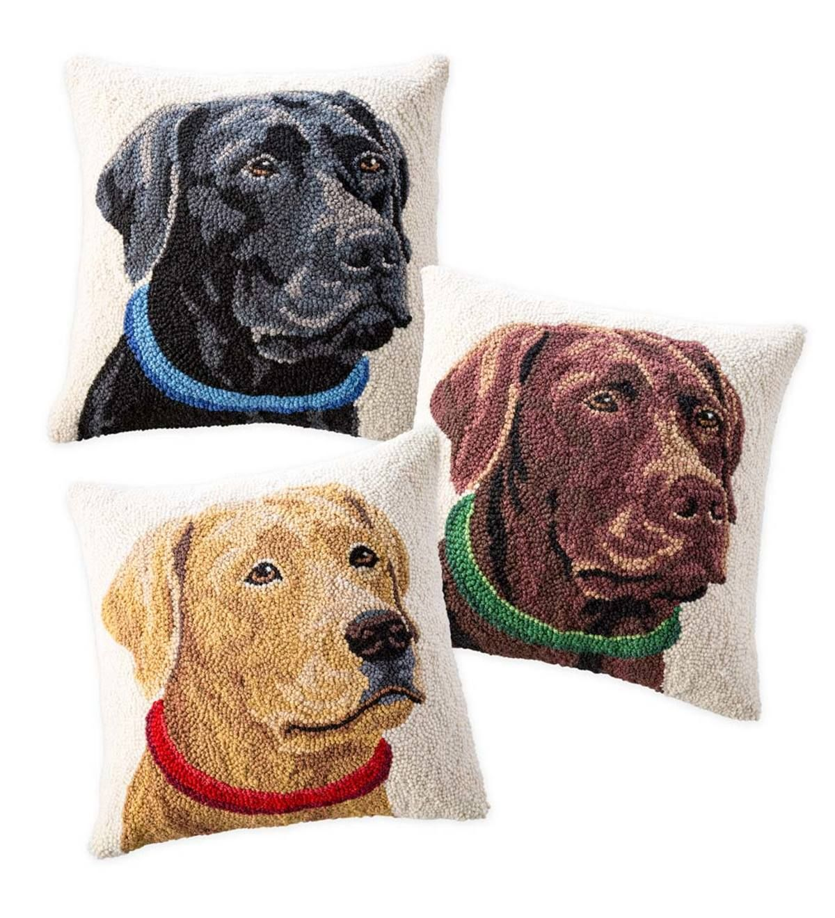 Hand Hooked Wool Labrador Retriever Throw Pillow Black Plowhearth Animal Pillows Labrador Retriever Labrador