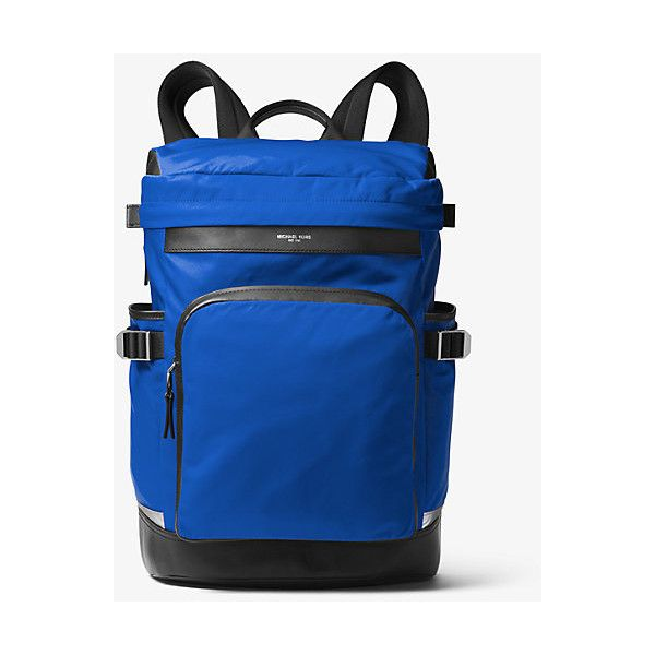 ef2b68410f03 Michael Kors Mens Kent Nylon Cycling Backpack ($209) ❤ liked on Polyvore  featuring men's fashion, men's bags, men's backpacks, blue and mens backpack