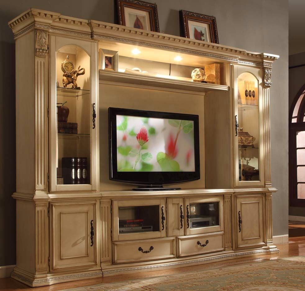 Athens classic antique white 62 tv entertainment center for Latest wall unit