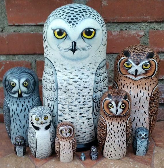 Owls on the Set of Ten Russian Nesting Dolls. Snowy Owl.