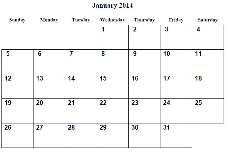2014 Print Calendars 2014 Free Printable Calendar January 2014