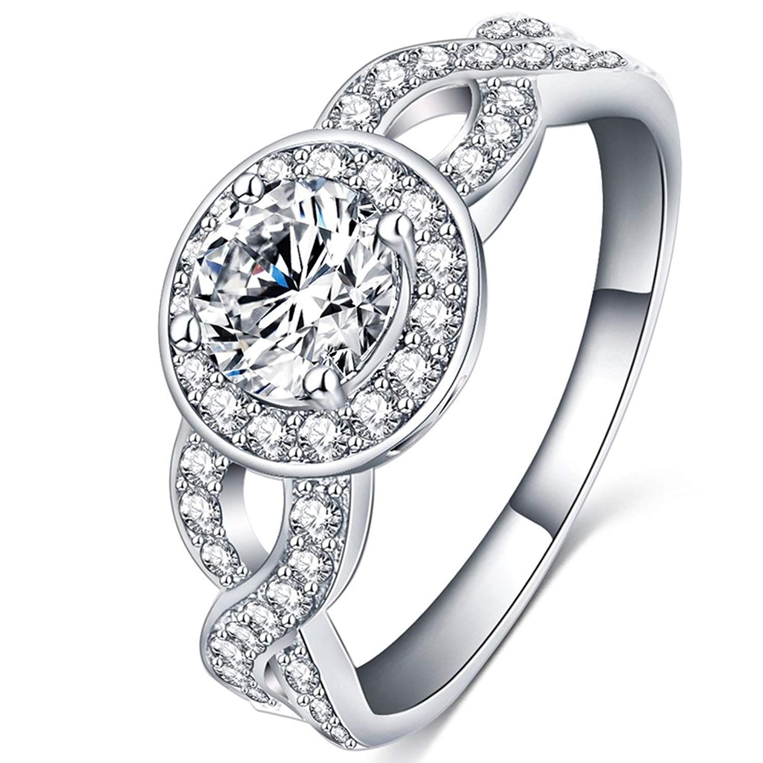 FENDINA Jewelry Womens 18K White Gold Plated Cubic
