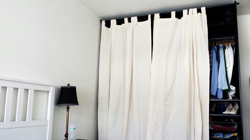 Diy By Sansar Ikea Pax Wardrobe With Curtains Instead Of Doors Gardinen Kleiderschrank - Ikea Wandhalterung Vorhang