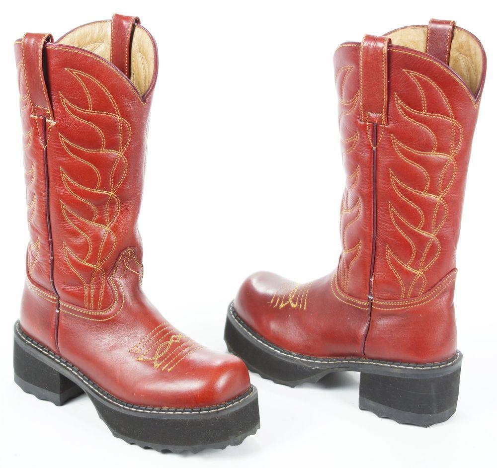 f2b366b9987 Fluevog Red Leather Tall Platform Cowboy Boots F Sole Goth Punk ...