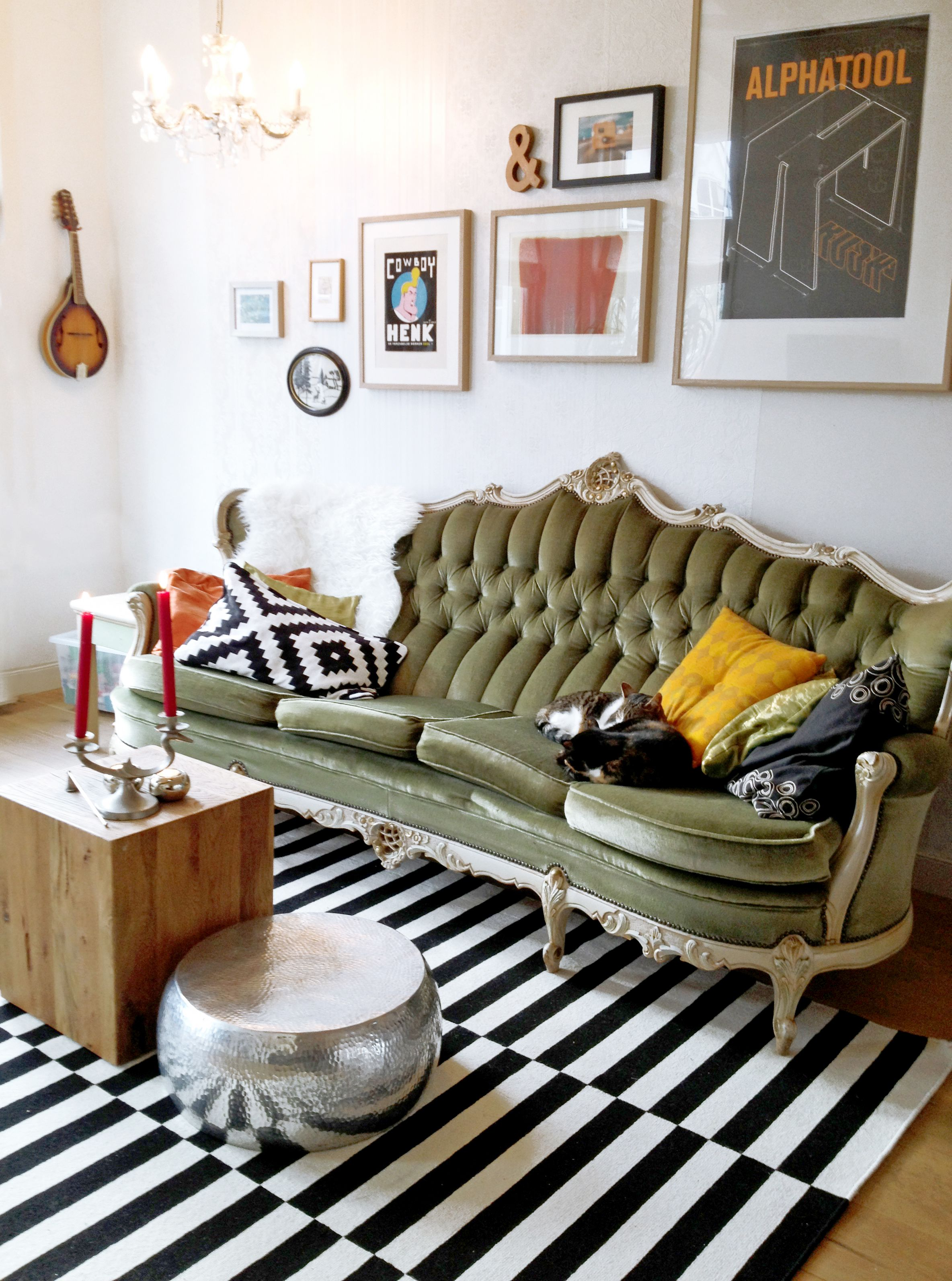 Add solid throw pillows Create a funky