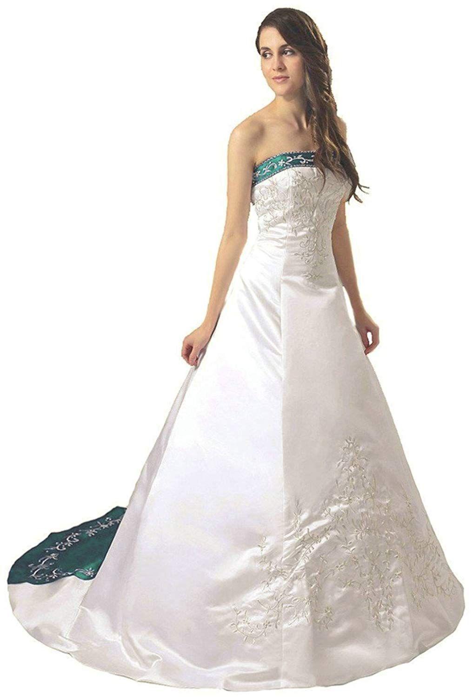 14e4e6c5de6 Vantexi Women s Strapless Satin Embroidery Wedding Dress Bridal Gown      Click image for more details. (This is an affiliate link)   Plussizeweddingdresses