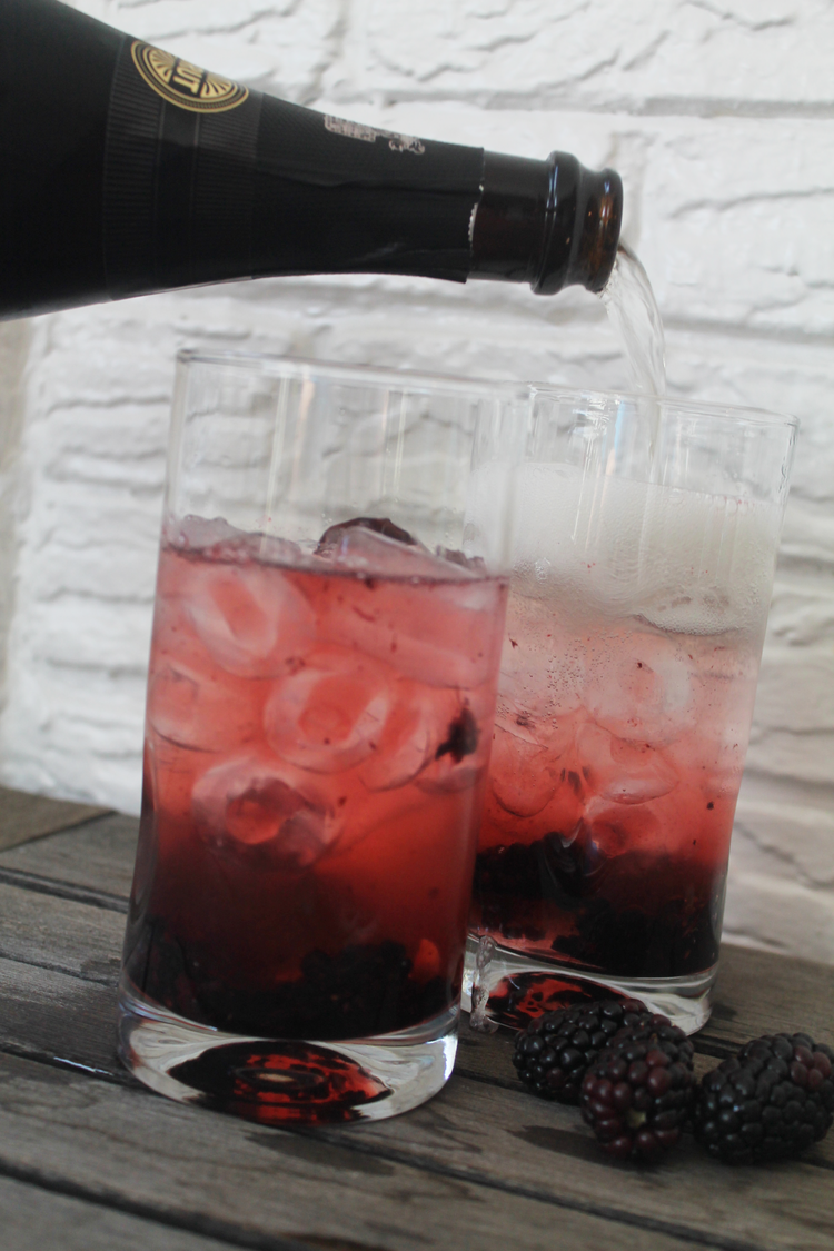 BlackBerry Spritz — topped with champagne